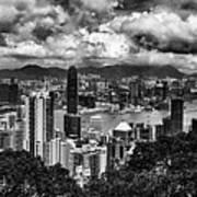 Hong Kong In Black And White Art Print