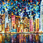 Hong Kong - Palette Knife Oil Painting On Canvas By Leonid Afremov Art Print