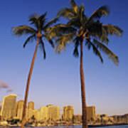 Honolulu And Palms Art Print
