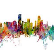 Honolulu, Miami And Nashville Skylines Mashup Art Print