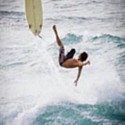 Hookipa Maui Flying Surfer Art Print by Denis Dore