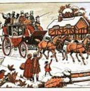 Horse And Carriage In The Snow Art Print