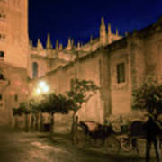 Horse And Carriage Seville Spain Art Print