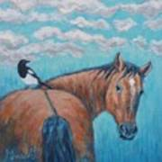 Horse And Magpie Art Print