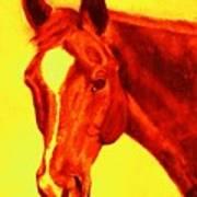 Horse Art Horse Portrait Maduro Deep Yellow And Orange Art Print