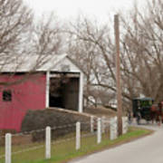 Horse Buggy And Covered Bridge Art Print