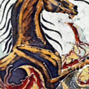 Horse Dances In Sea With Squid Art Print
