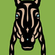 Horse Face Rick - Horse Pop Art - Greenery, Hazelnut, Island Paradise Blue Art Print
