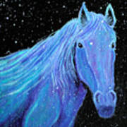 Horse-midnight Snow Art Print
