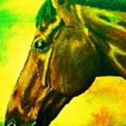 horse portrait PRINCETON yellow green Art Print