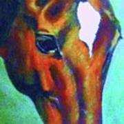 horse portrait RED psychedelic Art Print