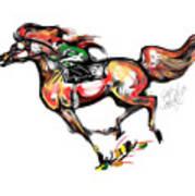 Horse Racing In Fast Colors Art Print