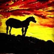 Horse Rider In The Sunset Art Print