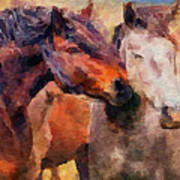 Horse Snuggle Art Print