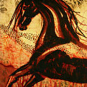 Horse Through Web Of Fire Art Print by Carol Law Conklin
