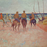 Horseman On The Beach Art Print
