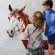 Horses And Children Painting Art Print