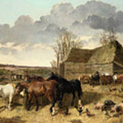 Horses Eating From A Manger, With Pigs And Chickens In A Farmyard Art Print