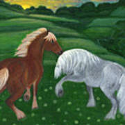 Horses Of The Rising Sun Art Print by Anna Folkartanna Maciejewska-Dyba