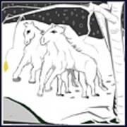 Horses On A Snowy Evening Art Print
