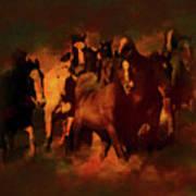 Horses Paintings 34b Art Print