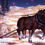 Horses Pulling Log Art Print