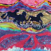 Horses Running Thru A Stream Art Print by Carol  Law Conklin