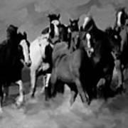Horses Stampede 01 Art Print