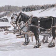Horses Wearing Snowshoes Historical Vignette Art Print