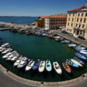 Horseshoe Pattern Of Moored Boats At The Inner Harbour Of Piran  Art Print