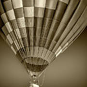 Hot Air Balloon And Bucket In Sepia Tone Art Print