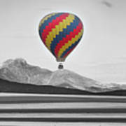 Hot Air Balloon And Longs Peak - Black White And Color Art Print