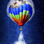 Hot Air Balloon / Digital Art Art Print
