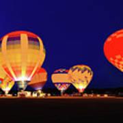Hot Air Balloon Night Glow Art Print