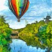 Hot Air Balloon Woodstock Vermont Pencil Art Print