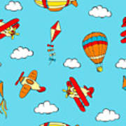 Hot Air Balloons And Airplanes Fly In The Sky Art Print