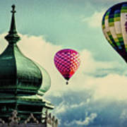 Hot Air Balloons Float Over Lewiston Maine Art Print