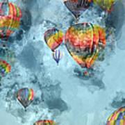 Hot Air Balloons Digital Watercolor On Photograph Art Print