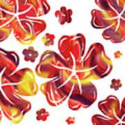 Hot Flowers Dancing Silhouettes Art Print