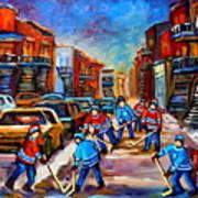 Hotel De Ville Montreal Hockey Street Scene Art Print