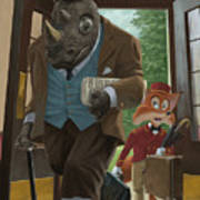 Hotel Rhino And Porter Fox Print by Martin Davey