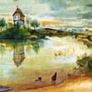 House By A Pond Art Print
