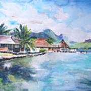 House By The Lagoon In French Polynesia Art Print
