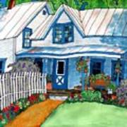 House Fence And Flowers Art Print