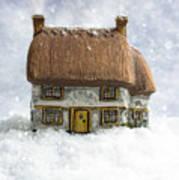 House In Snow Art Print