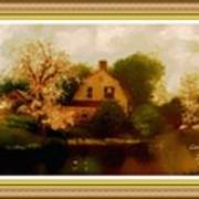 House Near The River. L A With Decorative Ornate Printed Frame. Art Print