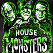 House Of Monsters Frankenstein Dracula Phantom Horror Movie Art Art Print