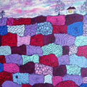 House On Top Of Patchwork Hill Art Print