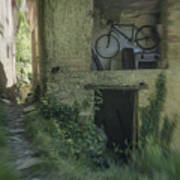 House With Bycicle Art Print