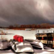 Houseboats In Winter Art Print